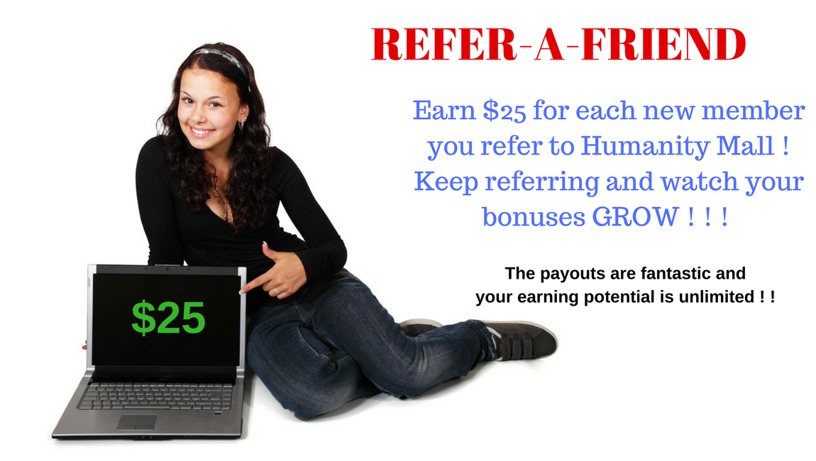 refer a friend and earn a young woman with her laptop